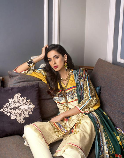 wishcart-Pakistanisuits-Gul Ahmed Luxury Shaleen Digital Satin 2019 Collection TDCS01