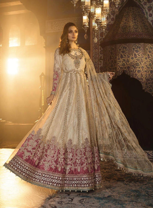 wishcart-Pakistanisuits-Maria B. Wedding Dresses 2019-1801-Ivory and Ashrose