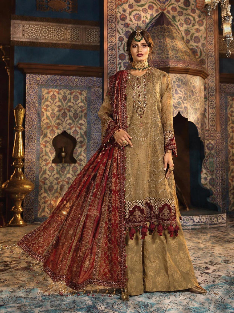 wishcart-Pakistanisuits-Maria B. Wedding Dresses 2019-1806-Brunt gold and Ruby
