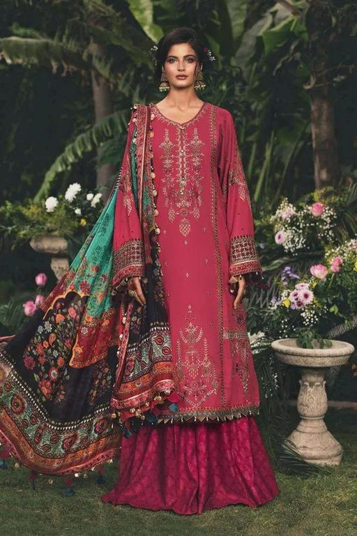 wishcart-Pakistanisuits-Maria B Sateen Winter 2020-CST-202-Hot Coral Pink