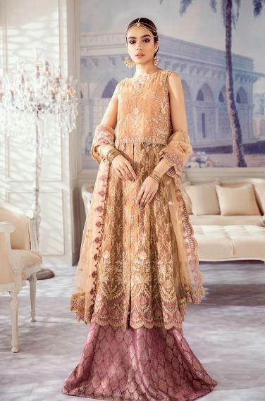 wishcart-Pakistanisuits-Iznik Imperial Dreams Chiffon Collection 2020-IZ02- Regal Rose