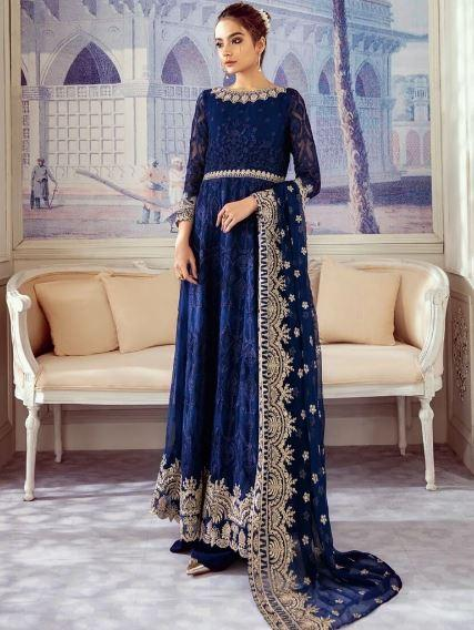 wishcart-Pakistanisuits-Iznik Imperial Dreams Chiffon Collection 2020-IZ03- Navy Jewel