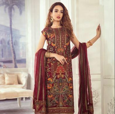 wishcart-Pakistanisuits-Iznik Imperial Dreams Chiffon Collection 2020-IZ04- Crimson Garden