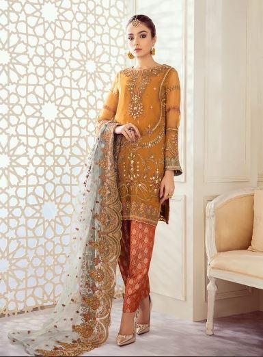 wishcart-Pakistanisuits-Iznik Imperial Dreams Chiffon Collection 2020-IZ07-Desert Monarch