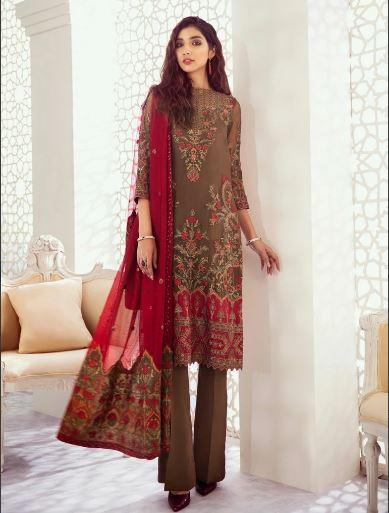 wishcart-Pakistanisuits-Iznik Imperial Dreams Chiffon Collection 2020-IZ08-Garnet Ash