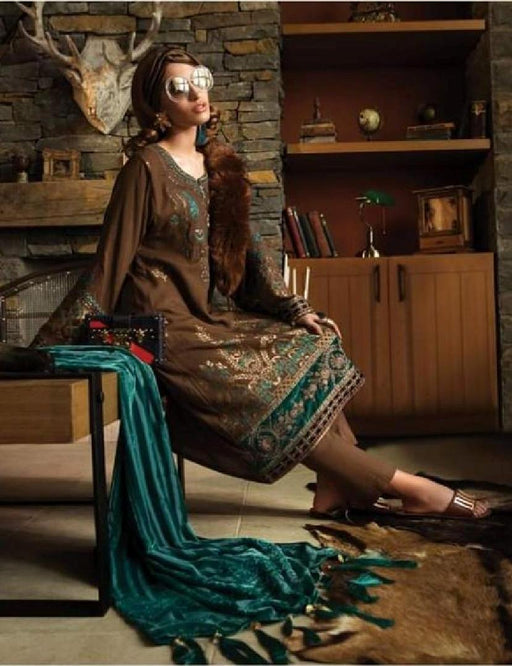 wishcart-Pakistanisuits-Linen La Vie Luxe Winter Dresses '19 By MARIA.B-DL-702-Brown and Green