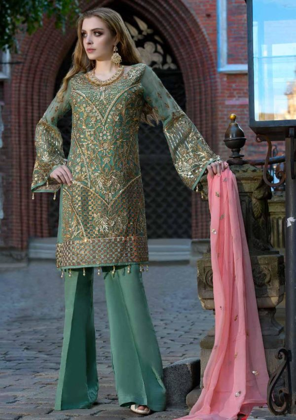 Wishcart-Pakistanisuits-Maryum N Maria Shamrock Premium Embroidered Chiffon Dresses SD-01