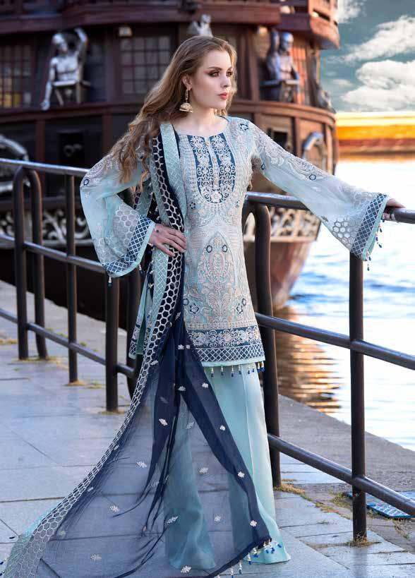 wishcart-Pakistanisuits-Maryum N Maria Shamrock Premium Embroidered Chiffon Dresses SD-04