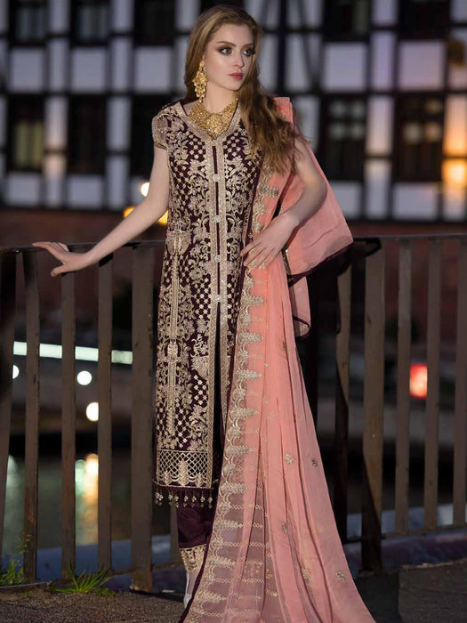 wishcart-Pakistanisuits-Maryum N Maria Shamrock Premium Embroidered Chiffon Dresses SD-08