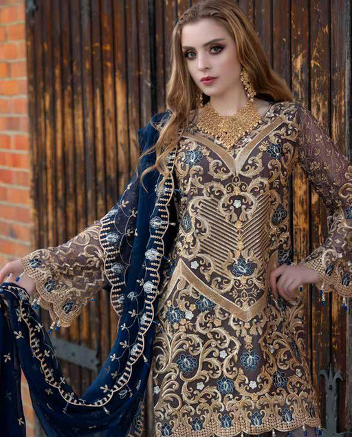 wishcart-Pakistanisuits-Maryum N Maria Shamrock Premium Embroidered Chiffon Dresses SD-10 2