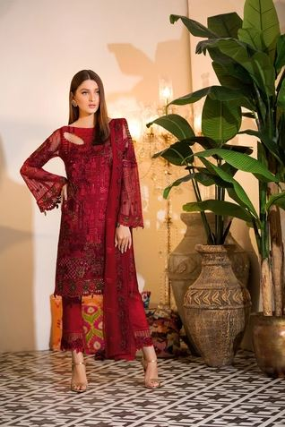 wishcart-Ramsha Chevron Chiffon  Wedding  Collection RAMCWCA105 1