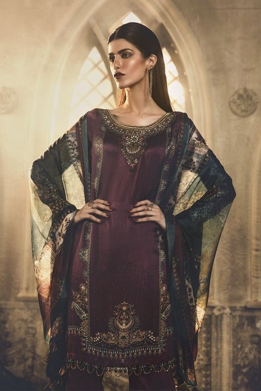 wishcart-Pakistanisuits-Maria B Silk Dresses 2019-MSK 403-Purple