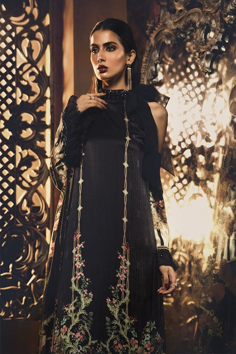 wishcart-Pakistanisuits-Maria B Silk Dresses 2019-MSK 404-Black