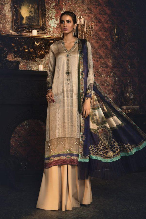 wishcart-Pakistanisuits-Maria B Silk Dresses 2019-MSK 405-Coffee