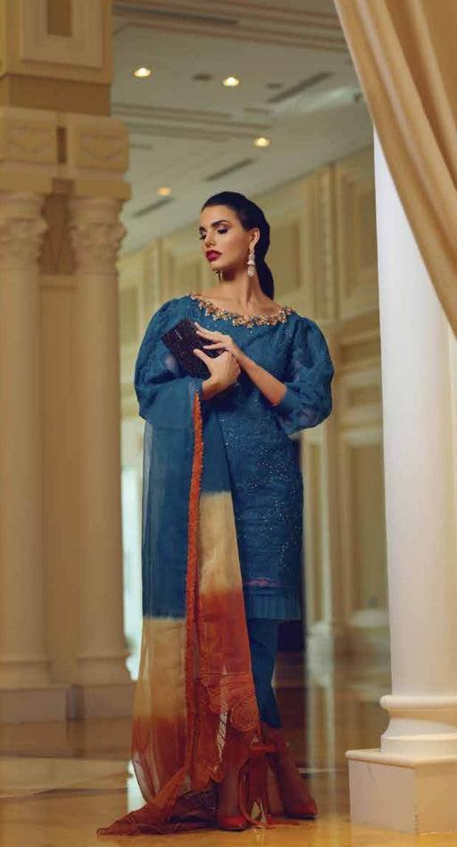 wishcart-Pakistanisuits-Mushq Pre Fall Festive Dresses 2019 -CARIBBEAN SEA