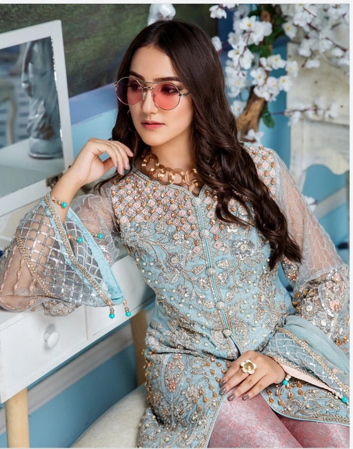 wishcart-Pakistanisuits-Elaf Premium Chiffon Embroidered Collection '19 - EL-407