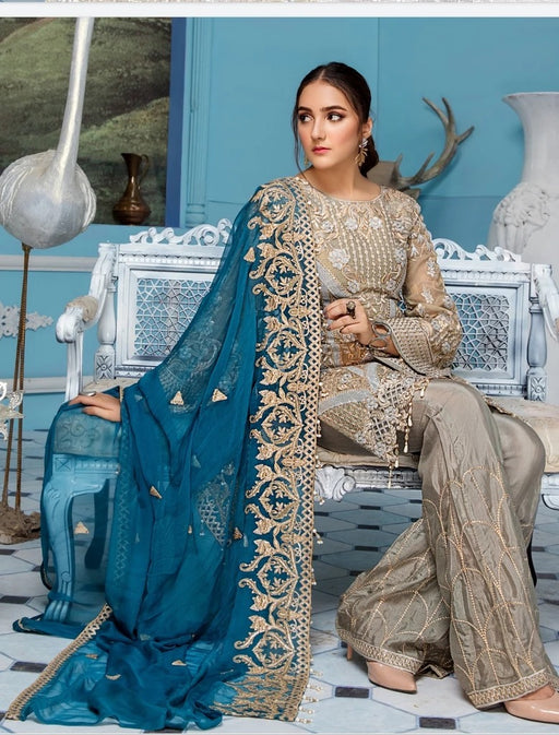 wishcart-Pakistanisuits-Elaf Premium Chiffon Embroidered Collection '19 - EL-408
