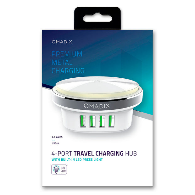 Premium Metal 4-Port Travel Charging Hub with Built-in Press Light