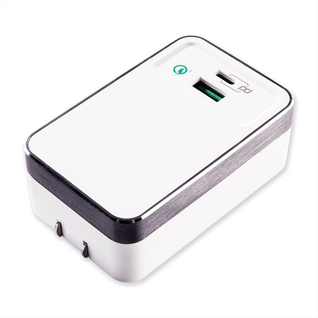 Premium Metal Dual Port Travel Charging Hub with Qualcomm® Quick Charge™ 3.0 & Power Delivery