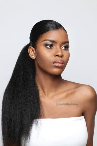 KINKY STRAIGHT PONYTAIL  20'' synthetic Hair With Two Plastic Combs