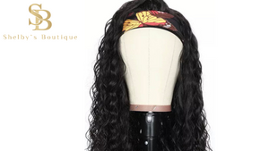 WATER WAVE HEADBAND WIG 100% Human Hair 150% Density