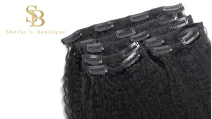 KINKY STRAIGHT Clip In Human Hair Extensions Virgin Hair 7 Pieces