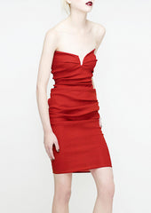 La petite s bandeau dress in red stretch linen la petite s*****