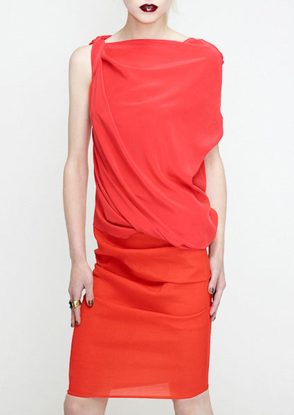 twist shoulder top in coral by la petite s