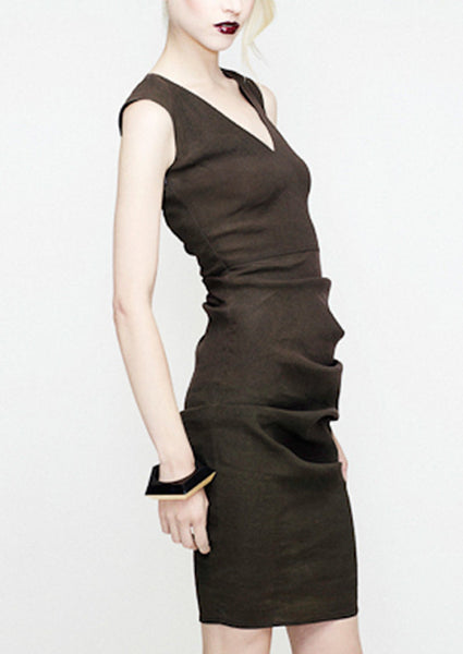 V-Neck vest dress in mud stretch Linen by la petite S