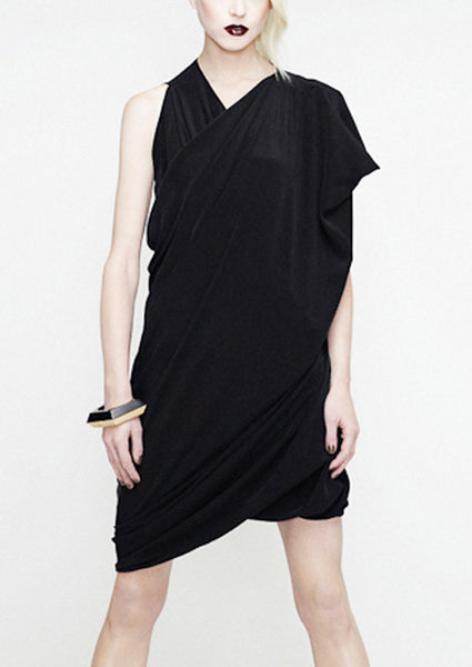 la petite s wrap dress in silk crepe