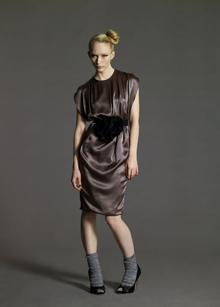La Petite S***** gunmetal satin dress AW08