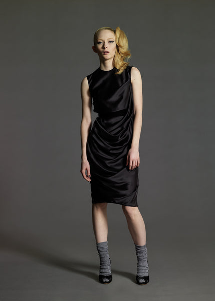 La Petite S***** draped black satin dress AW08
