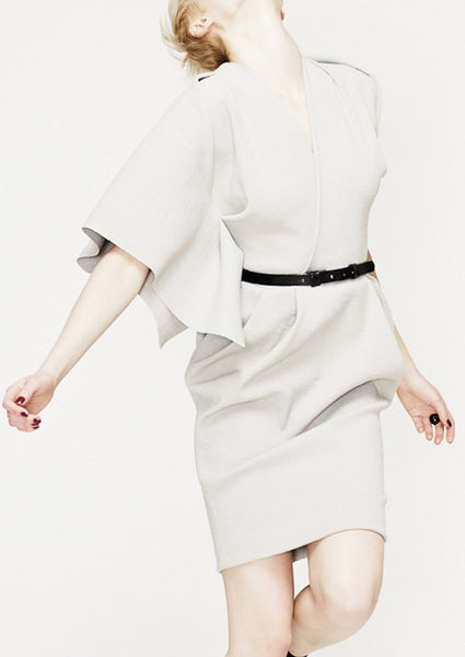 La Petite S - asymmetric dress in dove grey