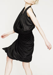 La Petite S Draped jersey dress in charcoal grey la petite s*****