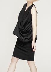 La Petite S Satin draped top in black  la petite s*****