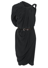 La Petite S black silk dress with knot detail la petite s*****