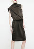 La Petite S - Silk crepe dress with scarf neckline