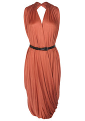brick la petite s draped jersey dress with belt la petite s*****