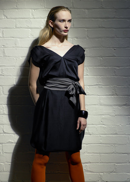 Black satin dress with sash La Petite S***** collection SS07