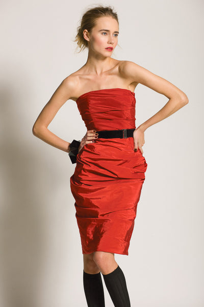La Petite S***** AW09 red taffeta bandeau dress