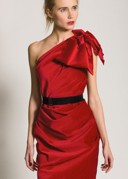 La Petite S***** AW09 red velvet one shoulder dress with bow