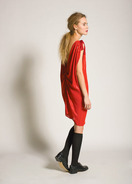 La Petite S***** AW09 red sequin draped dress