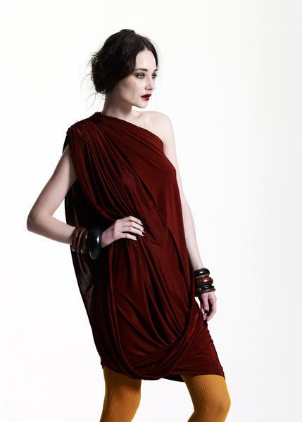 Burnt umber jersey one shoulder dress La Petite S***** AW11