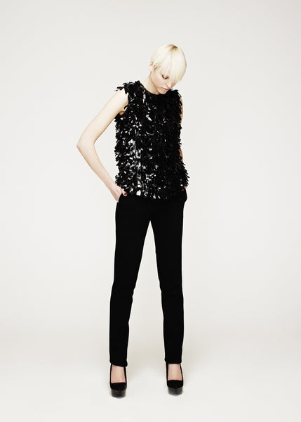 La Petite S***** AW12 tassel embroidered vest top in black