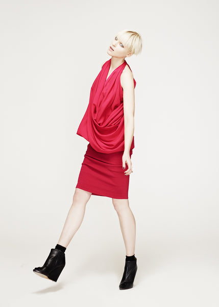 La Petite S***** AW12 fuchsia satin draped top and skirt