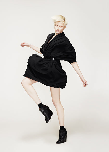 La Petite S***** AW12 black satin wrap dress with belt
