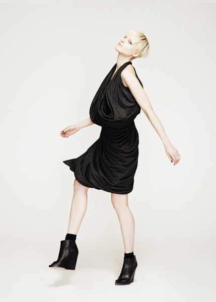 La Petite S***** AW12 charcoal grey draped jersey dress