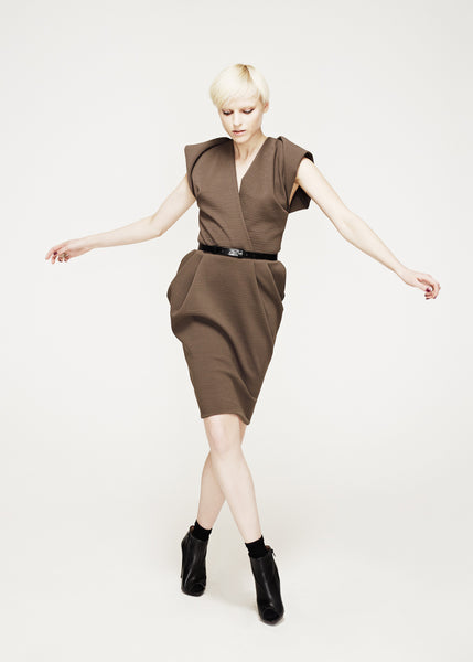 La Petite S***** AW12 wool dress with fold shoulder details and belt