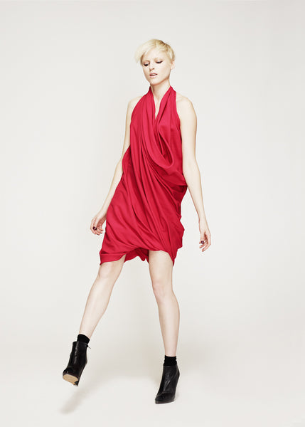 La Petite S***** AW12 fuchsia draped dress in satin
