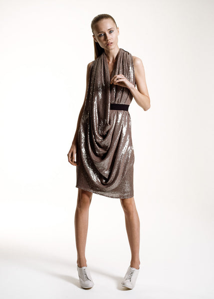 La Petite S***** SS10 mink cowl neck sequin dress
